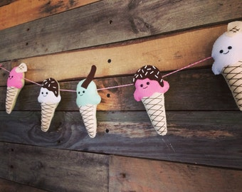 Ice cream garland, Felt Ice Cream, Summer garland,