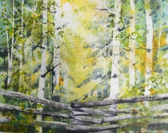 watercolor painting landscape watercolor original watercolor landscape painting original watercolor painting fine art paintings aspen trees
