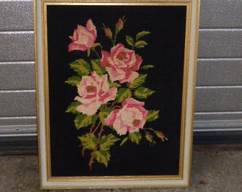 The canvas of pink roses Bouquet finished and framed vintage 1970