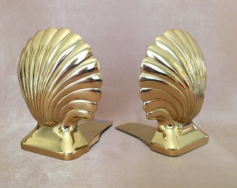 Brass Shell Bookends, Henry Ford Museum, Baldwin Brass, Hollywood Luxury, Glam Home Accents, Heavy, Gold Patina, Seashells, Beach Home Decor