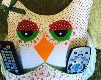 handmade owl cushion TV remote control stand