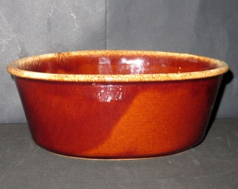 Vintage Hull Pottery Oven Proof Pottery Oval Casserole Baking Dish in Brown Drip Pattern  USA