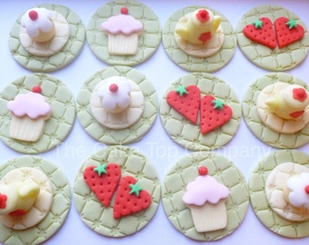 Afternoon Tea Fondant Cupcake Toppers - Handmade to order Uk