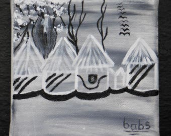 """Miniature Painting 4""""x4"""" of African Village in front of Boabab Tree"""