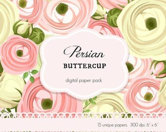 Digital Scrap Booking Papers Persian Buttercup Roses Floral Flower Shabby Chic Scrapbook Polka Dots Pink Yellow Green Springtime Easter