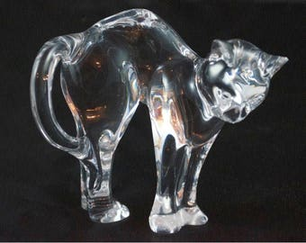 Baccarat Crystal Arched Back Pouncer Cat