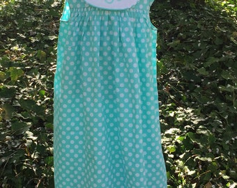Girls polkadot monogrammed dress - turquoise polkadot dress with monogram - monogrammed dress - matching bubble -toddler girls float collar