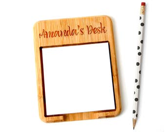 Personalized Bamboo Post it Note Holder - Custom Teacher Gift - Post-it notes