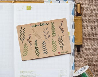 Summer leaves and branches - decorative kraft watercolour planner stickers suitable for any planner -423-