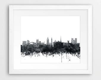 Newcastle Skyline Print, Newcastle Watercolor Grey Black And White, Newcastle England Cityscape, Modern Wall Art, Home Decor, Printable Art