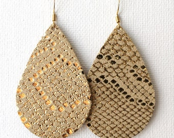Reptile Gold Leather Drop Earrings