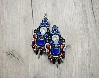 SALE - Soutache dangle earrings. Bohemian colorful jewelry. Soutache handmade earrings.