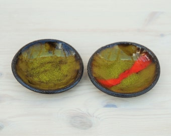 Ceramic Mini bowl, Green, Orange, Tea light candle holder, Trinket Dish, Ring Holder, Jewelry Holder, tea bag holder.