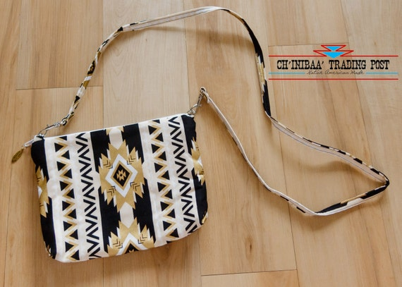 Navajo Cross Body Purse Black Gold  and White By SommerNani