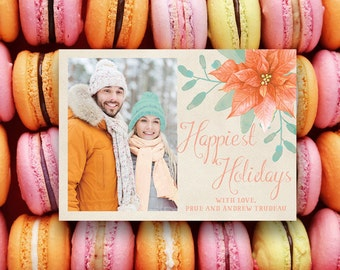 Pastel Holiday Cards in Orange, Peach and Mint Macarons