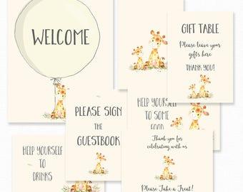 Baby Shower Decorations - Giraffe Baby Shower Table Signs - Baby Shower Welcome Sign Decoration - Giraffe Table Decorations - Giraffe