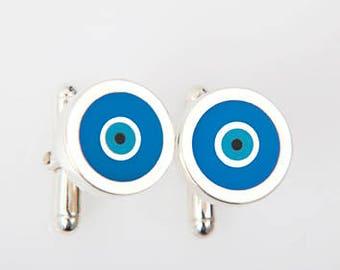 Greek Evil Eye Cufflinks with 975 Silver, Turquoise Enamel