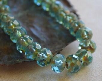 10 Aqua Blue Czech Picasso Beads- 8x6mm Faceted Rondelle- Splash (693-10)