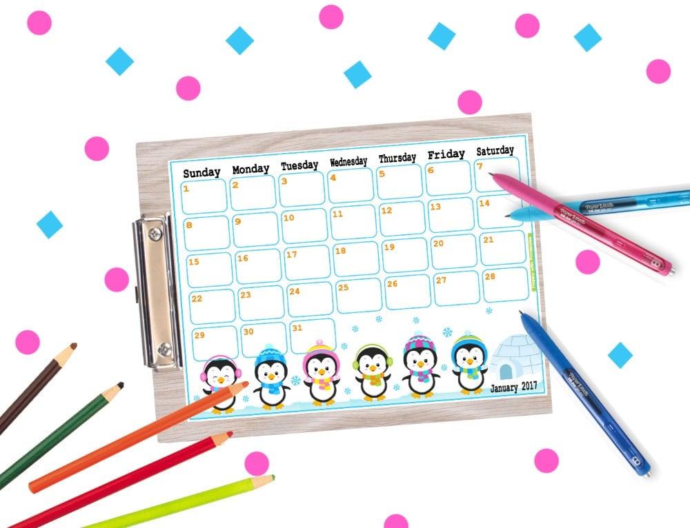 Diy Calendar January : Printable calendar january planner diy