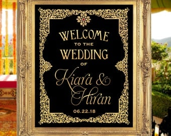 "16""x20"" Ornate Wedding Sign with Gold Effect - Welcome Wedding Poster 