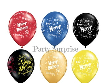 "Happy Birthday Balloons 11"" latex Red Blue Black Gold Yellow Birthday Balloons Kids Birthday Party Adults Birthday Party Birthday Balloons"
