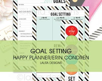 2017 Goal Setting Printable Inserts for use with Happy Planner and Erin Condren LIFEPLANNER™