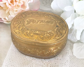 Lovely Antique Art Nouveau Powder Tin Box, Vintage advertising Pozzoni's gold casket dresser box. Decorative round vanity, boudoir soap dish
