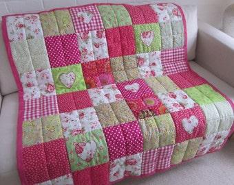 Handmade  Patchwork Quilt - Throw with Kaffe Fassett fabric