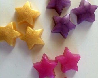 Mini star soaps, set of 10 stars, custom colored and scented. Kids soaps, party favors, guest soaps.