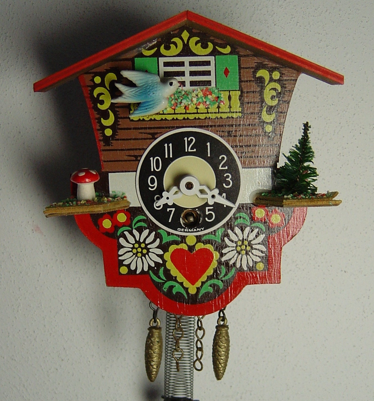 Vintage 50s black forest wall clock cuckoo clock with swinging lady w germany - Funky cuckoo clock ...
