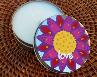 Candle Tin - All Natural Soy Wax 4 oz. Candle with Original Artwork Intention - Love