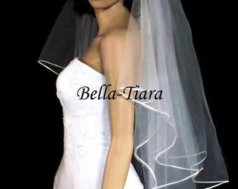 satin edge veil, 2 tier satin edge veil, 2 tier veil, wedding veil, bridal veil, satin cord veil, wedding veils, veils - FREE SHIPPING