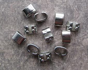 Dark Silvertone Sliver Slider Findings 12x8mm, inner 6x10mm