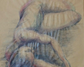 Original Life Drawing 11, Pencil Drawing, Water color, colour, nude sketch, life model drawing, dessin, art, realistic