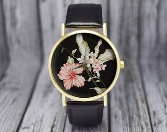 Hibiscus Flower Watch | Floral Watch | Women's Watch | Ladies Watch | Gift for Her | Birthday | Wedding | Gift Ideas | Fashion Accessories