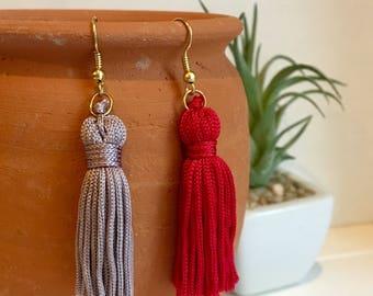 Fringe Earrings - Spanish Tassel Earrings - Red Tassel Earrings - Grey Tassel Earrings
