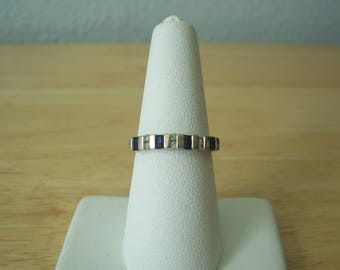 Vintage Natural Sapphire and Diamond Band Style Ring in White Gold
