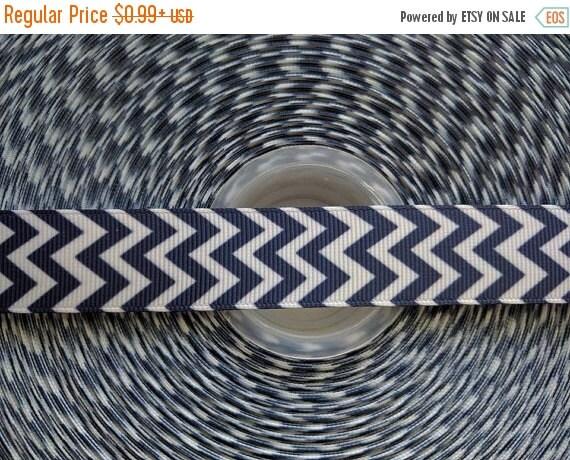 """SUPER SALE NAVY Blue Chevron 7/8"""" 22mm Grosgrain Hair Bow Craft Ribbon 782661"""