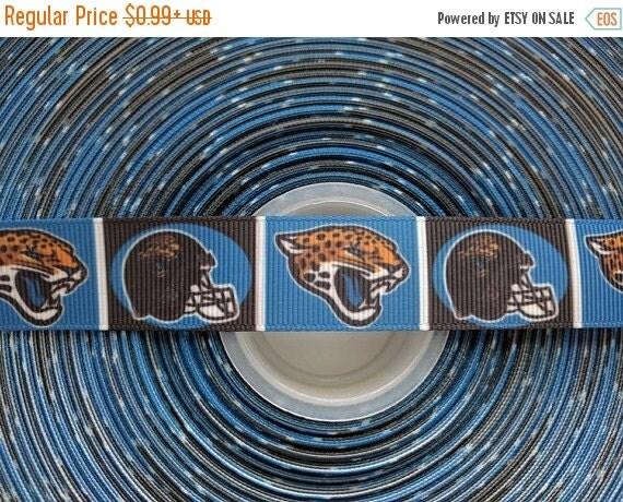 "SUPER SALE JACKSONVILLE Jaguars Nfl 7/8"" 22mm Grosgrain Hair Bow Craft Ribbon 783147"