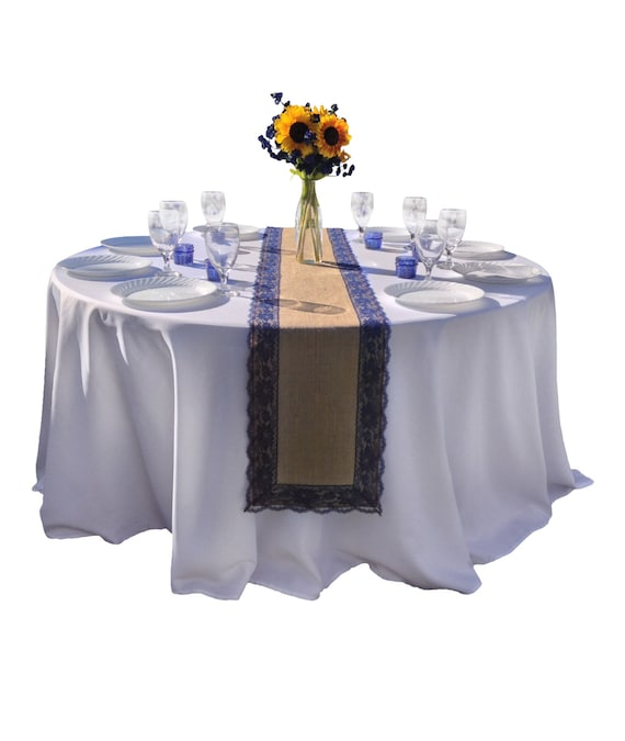 Burlap table runner navy dark blue lace 16 30 ft 12 for 12 ft table runner