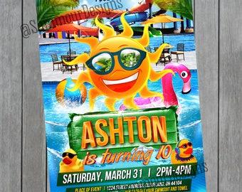 Summer Party Invitation - Pool Party Invitation -  Birthday Pool Party - Pool Party Birthday