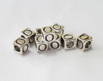 Sterling Silver, Alphabet, Letter, LETTER O, Bead, Alpha, Clearance, Sale, Jewelry, Beading, Supply, Supplies