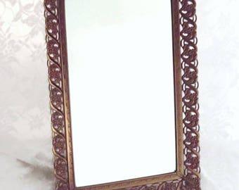 MBS Vintage Vanity Tray, Perfume Tray, Mirrored Filigree Tray, Decorative Tray, Stand Up Make-up Mirror