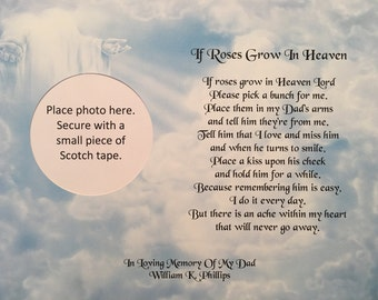 Memory of Dad, Sympathy Gifts, Memorial Day Gifts, Condolence Gifts, Roses Grow In Heaven, In Memory Gift, Religious Gift, Loss of Father