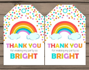 Rainbow Favor tags Rainbow birthday Thank you tags Rainbow Label tags Rainbow party Colorfull party Bright Confetti Digital PRINTABLE