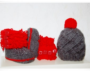 Baby set photo shooting photo prop baby crochet baby set grey red knitted baby has