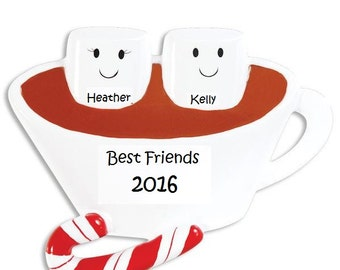 BFF Holiday Ornamanets, Two Cute Marshmellows, Couples Ornament, We Go Together Like...