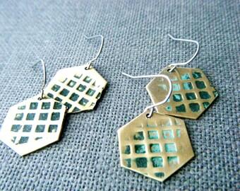 Verdigris earrings Bohemian brass earrings Honeycomb brass jewelry Verdigris patina dangle earrings Hammered geometric earrings Gift for her
