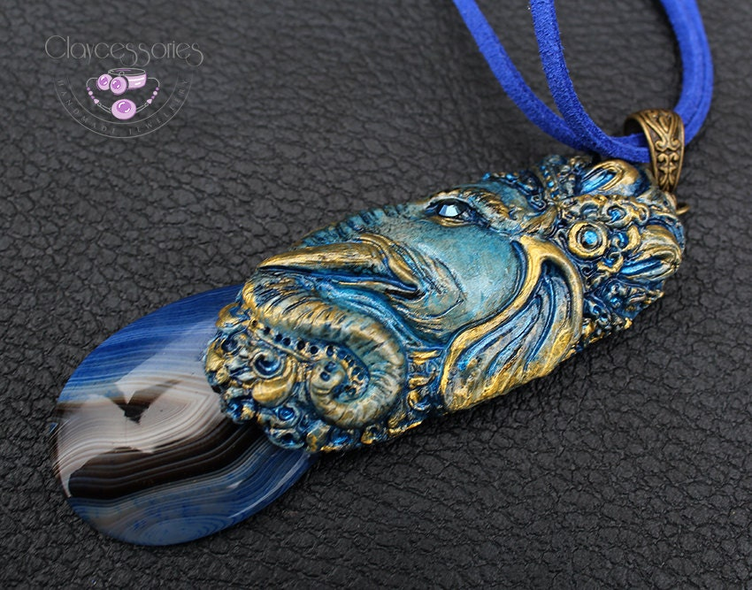 Totem necklace / Spirit necklace / Elephant necklace / Agate necklace / Blue necklace / Animal necklace / Polymer clay pendant necklace