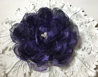 Satin Organza Flower Brooch/Hair Pin